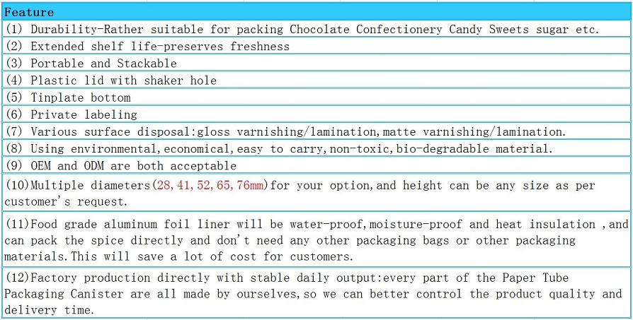 Feature of Canister Packaging For Chocolate Candy Paper Tube with Plastic lids