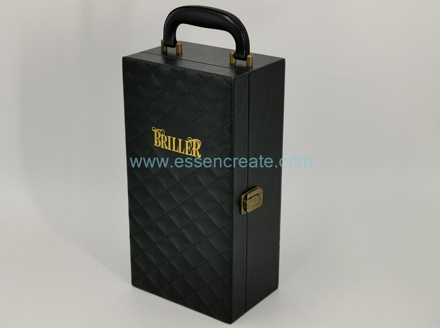 Thread Black Leather Wine Packing Box