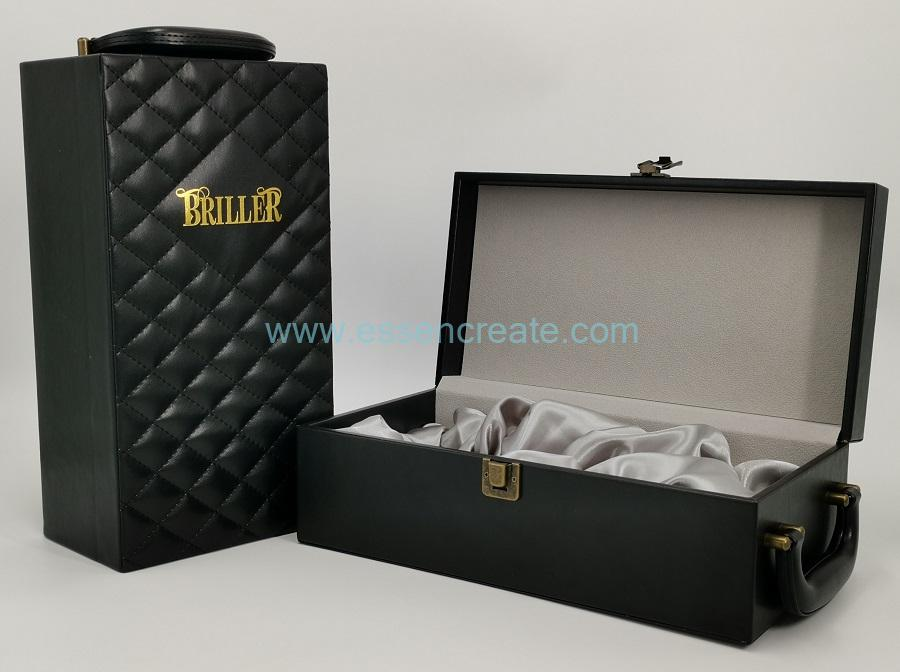 Wine Leather Packing Box with Satin