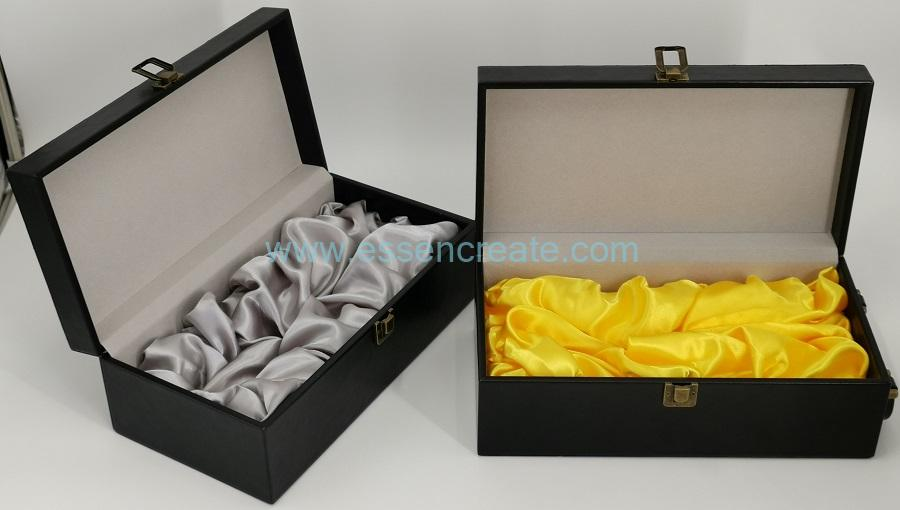 Luxury Black Wine Leather Box with Metal Handle