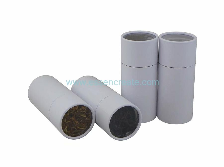 Clear Window Three Pieces Telescopic White Paper Tube