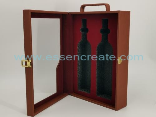 Two Wines Bottle Packing Leather Holder Box