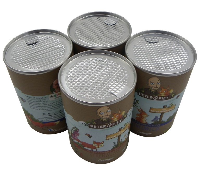 Good Airtight Paper Cans with Aluminum Foil Easy Peel Off Lids